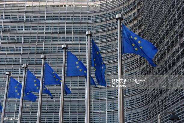 View of the European Commission and the European Quarter on the first day of the European Council Summit Brussels on June 28 2018 European Union...