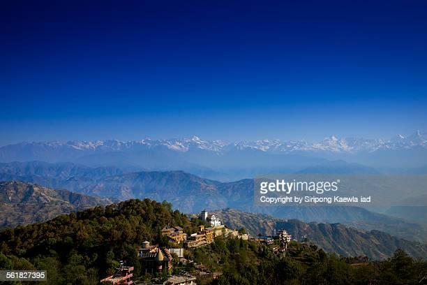 View of the everest mountain range in Nagarkot.