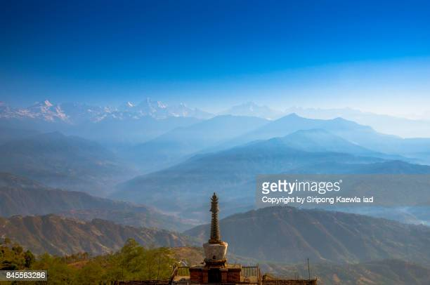 View of the Everest mountain range in the morning in Nagarkot, Nepal.