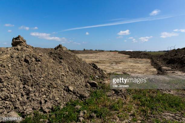 View of the excavation pit where Danish archaeologist have revealed a 1 km long and 2.000 years old Iron Age defence belt at the Fehmarnbelt Tunnel...