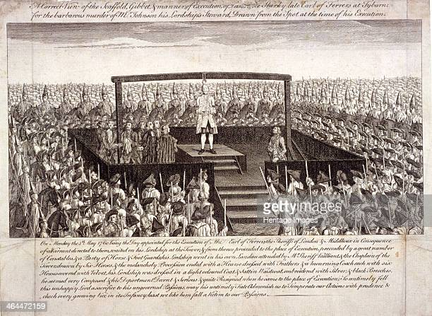 View of the execution of the Earl of Ferrers at Tyburn, Paddington, London, 1760. The Earl is shown standing blindfolded on the platform, watched by...