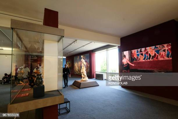 A view of the exhibition 'L'Immagine Invisibile' at Archaeological Museum in Paestum southern Italy The exhibition shows paintings frescoes statues...