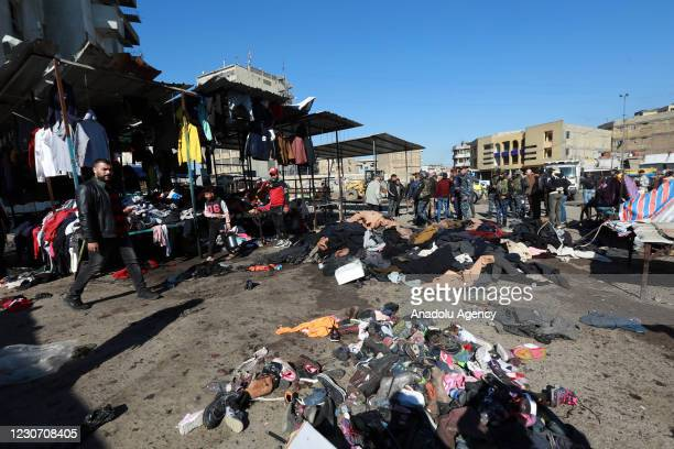 View of the explosion site after a suicide bombing attack at al-Tayaran Square in Baghdad, Iraq on January 21, 2021. At least 28 people have been...