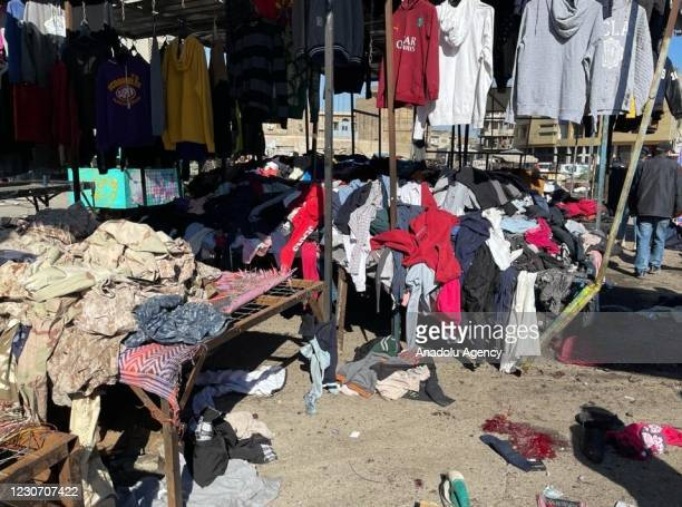 View of the explosion site is seen after a suicide bombing attack at al-Tayaran Square in Baghdad, Iraq on January 21, 2021. At least five people...