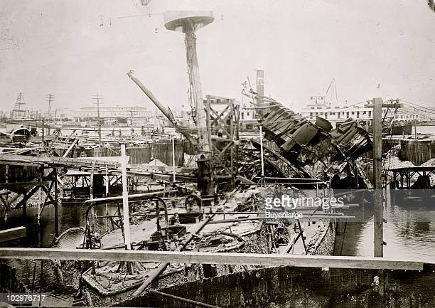 Twisted wreck of battleship USS Maine during the Spanish American War