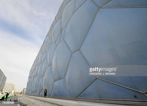 A view of the exterior 28 January 2008 as China unveiled its National Aquatics Centre in Beijing the blue bubblewrapped structure better known as the...