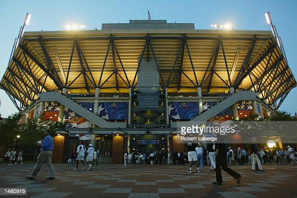 A view of the exterior of Arthur Ashe Stadium taken during the US Open on September 3 2002 at the USTA National Tennis Center in Flushing Meadows...