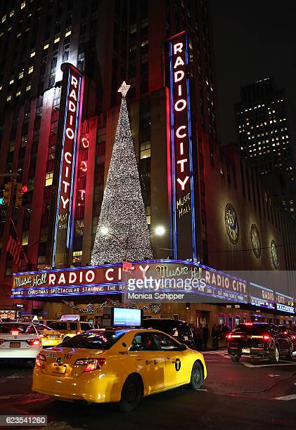 A view of the exterior of Radio City Music Hall during the Christmas Spectacular Starring The Radio City Rockettes Opening Night at Radio City Music...