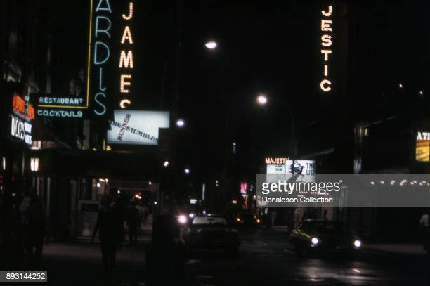 A view of the exterior of Sardi's Restaurant at 234 West 44th Street The Majestic Theatre marquee for 'The Wiz and the St James Theatre marquee for...