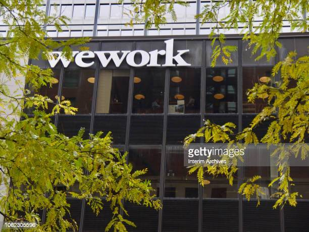 View of the exterior of the building at 100 South State Street occupied by the workspace sharing company WeWork in Chicago, Illinois, October 28,...