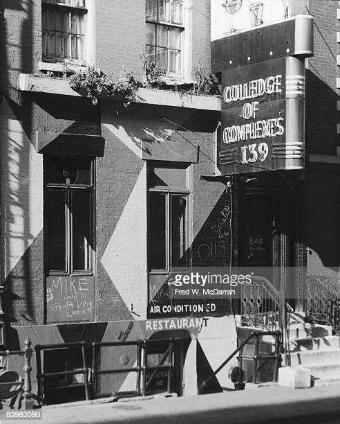 View of the exterior of the Colledge of Complexes bar New York New York September 30 1959 The bar's name was apparently the result of spelling...