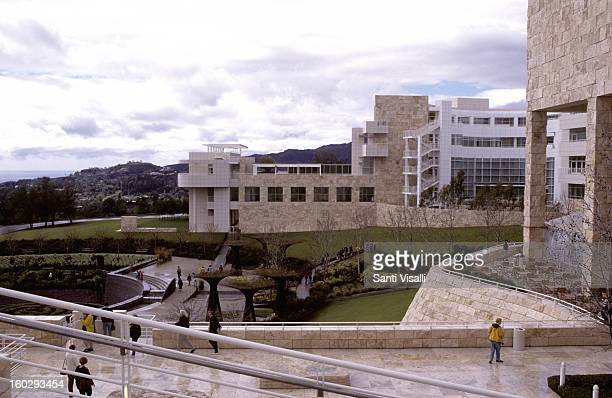 A view of the exterior of the Getty Museum in Los Angeles California