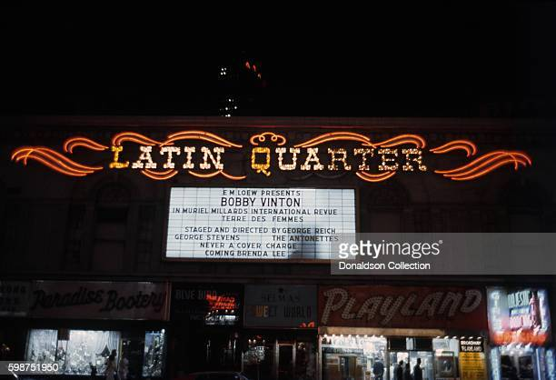 A view of the exterior of The Latin Quarter nightclub at 1580 Broadway at 47th Street with artists Bobby Vinton and Muriel Millard on the Marquee...