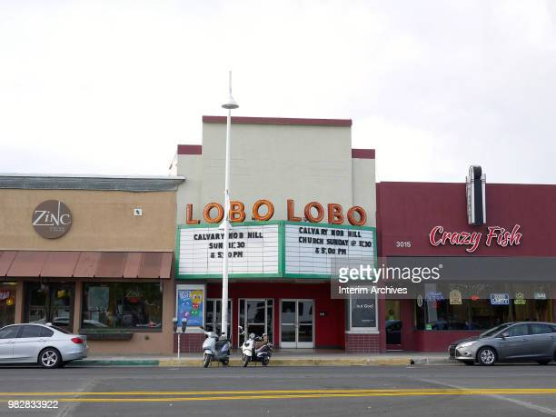 View of the exterior of the Lobo Theater along Route 66 in the Nob Hill neighborhood of Albuquerque New Mexico June 2016