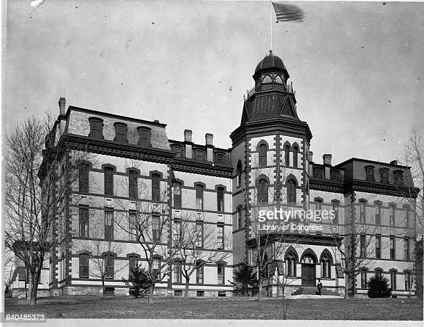 A view of the exterior of the main building at Howard University Washington DC ca 1900