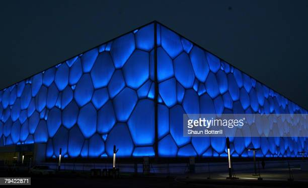 View of the exterior of the National Aquatics Centre before the 'Good Luck Beijing' World Swimming China Open at the National Aquatics Centre on...