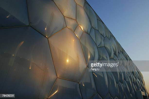 A view of the exterior of the National Aquatics Centre before the 'Good Luck Beijing' World Swimming China Open at the National Aquatics Centre on...