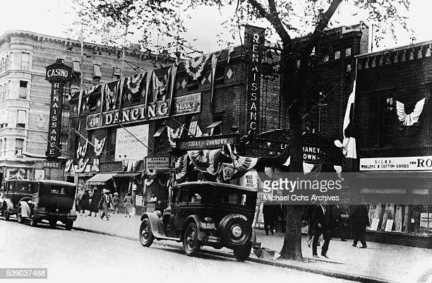 A view of the exterior of The Renaissance Ballroom an Casino located at 138th Street and Seventh Avenue in Harlem circa 1925 in New York City New York