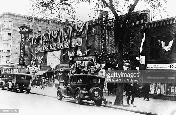 A view of the exterior of The Renaissance Ballroom and Casino located at 138th Street and Seventh Avenue in Harlem circa 1925 in New York City New...