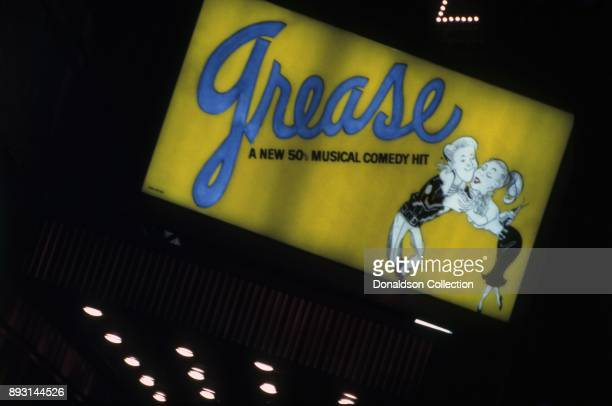 A view of the exterior of The Royale Theatre showing the marquee for Grease circa 1975 in New York City New York