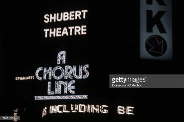 A view of the exterior of The Shubert Theatre showing the marquee for A Chorus Line circa 1975 in New York City New York