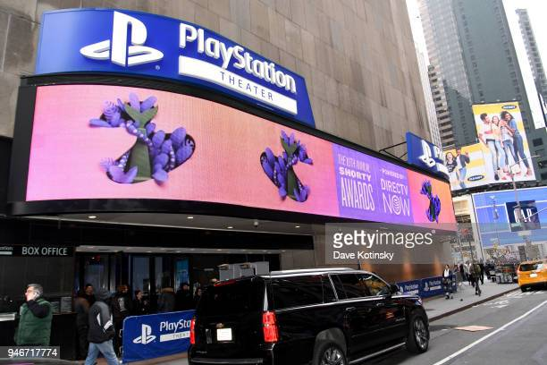 A view of the exterior of the theater during the 10th Annual Shorty Awards at PlayStation Theater on April 15 2018 in New York City