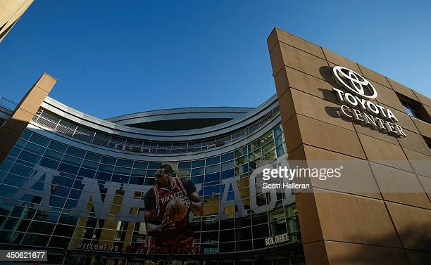 A view of the exterior of the Toyota Center prior to the start of the game between the Houston Rockets and the Boston Celtics on November 19 2013 in...