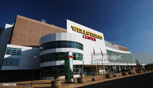 View of the exterior of the Wells Fargo Center the home of the Philadelphia Flyers prior to a NHL game against the Toronto Maple Leafs on October 2,...