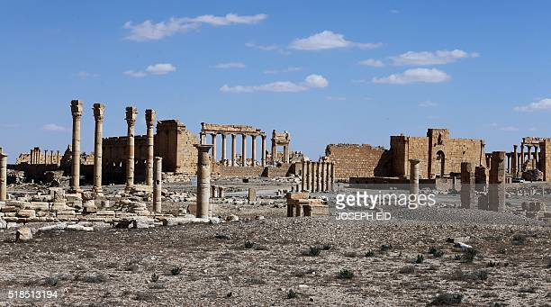 A view of the external columns of Palmyra's Temple of Bel in the ancient Syrian city on March 31 2016 The main building of the ancient temple was...