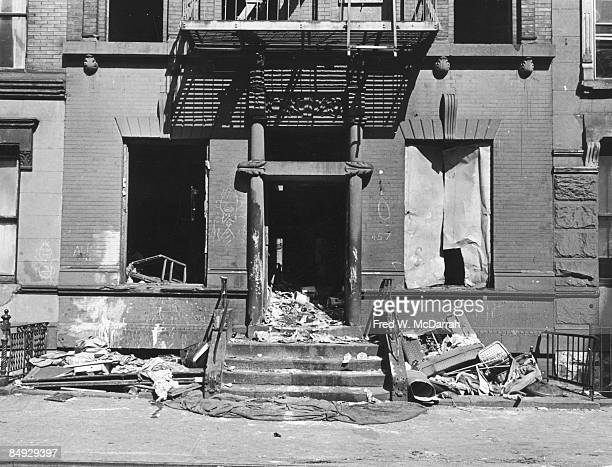 View of the facade of an abandoned building on an unidentified street in Harlem New York New York March 9 1967