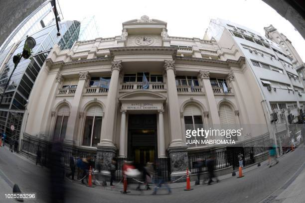 View of the facade of Argentina's Central Bank in Buenos Aires on August 30 2018 Argentina's Central Bank announced Thursday it has raised its...