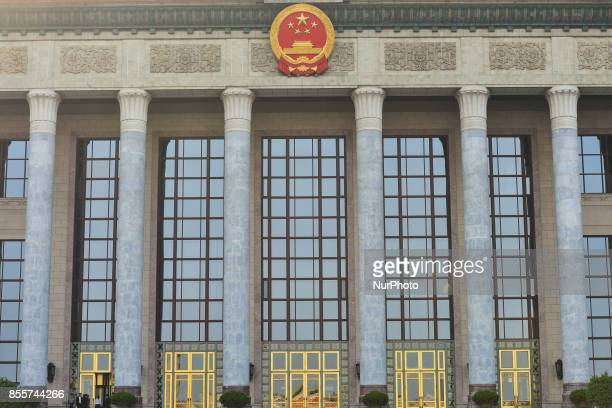 A view of the facade of Great Hall of the People at Tiananmen Square in Beijing ahead of the upcoming National Day and the Golden Week national...
