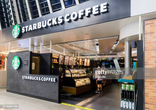 A view of the facade of Starbucks coffee's restaurant at Shanghai Pudong International Airport on August 10 2018 in Shanghai China