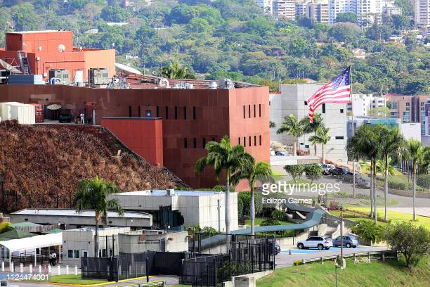 View of the facade of the American embassy in Caracas on January 24 2019 in Caracas Venezuela Protest occur a day after opposition leader and head of...