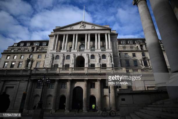 View of the facade of the Bank of England in central London on November 5, 2020. - The Bank of England on November 5, 2020 unveiled an extra £150...