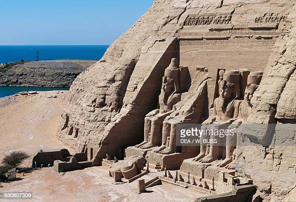 View of the facade of the Great Temple at sunset Abu Simbel Egypt Egyptian civilisation New Kingdom Dynasty XIX
