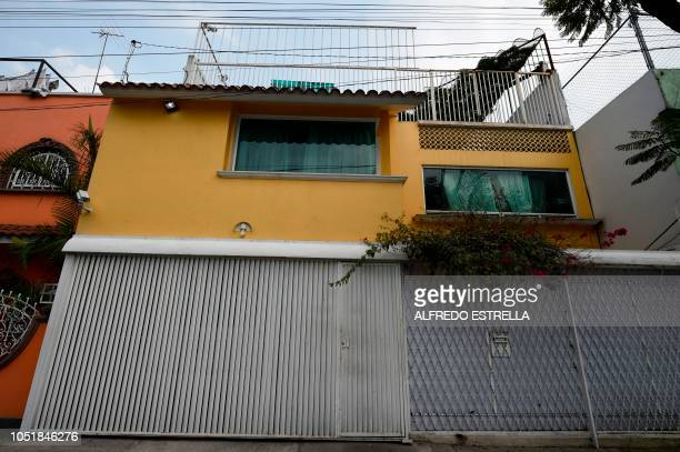 View of the facade of the house of Omar Rodriguez the owner of three lions in Asturias neighbourhood in Mexico City on October 10 2018 / The...