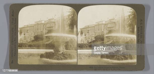 View of the facade of the Peterhof Grand Palace, The Imperial Palace at Peterhof, Russia , facade , palace, Peterhof Palace Complex, anonymous,...