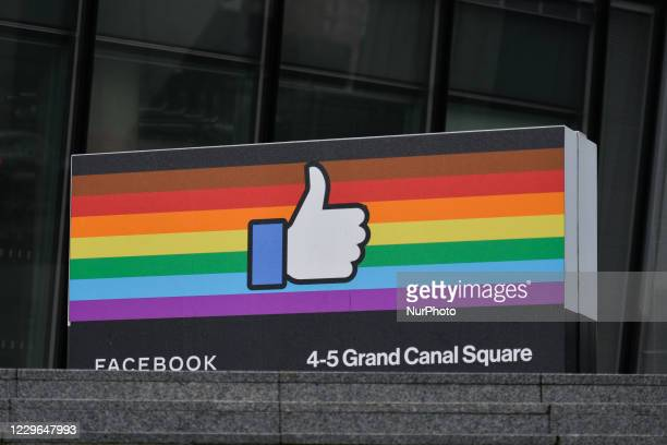 View of the Facebook logo at the company's EMEA headquarters on Grand Canal Square in Docklands during the COVID-19 pandemic in Dublin. On Monday,...