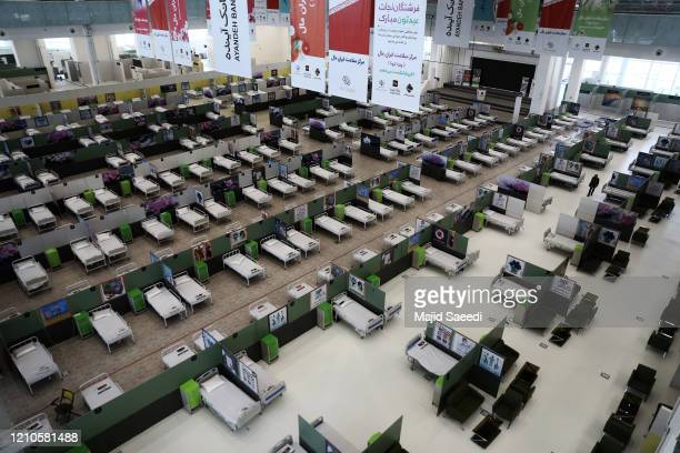 View of the fairground of Iranmall, Tehran's largest shopping mall, after it converted into a hospital for coronavirus patients on April 20, 2020 in...