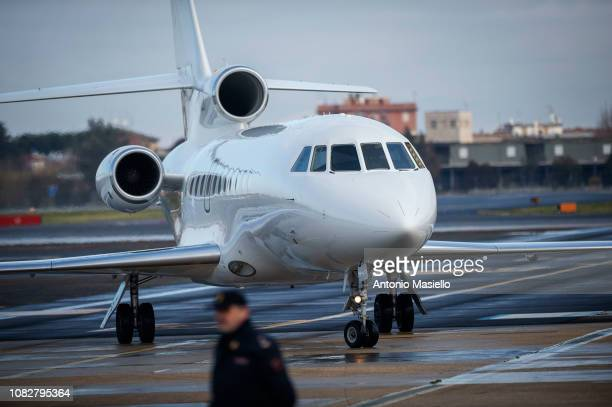 A view of the Falcon 900LX during the arrival of Italian former farleft activist Cesare Battisti at Ciampino airport on 14 January 2019 in Rome Italy...
