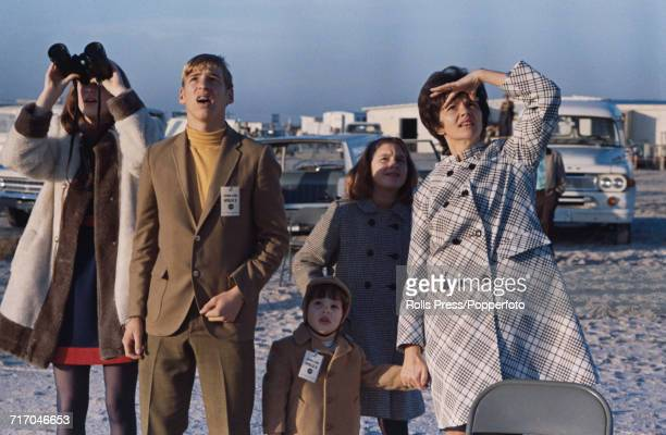 View of the family of American astronaut Jim Lovell including his wife Marilyn Lovell and children Barbara James Jeffrey and Susan as they watch the...