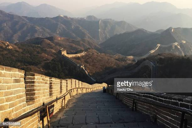 A view of the famous Badaling Great Wall on February 18 2017 in Beijing China