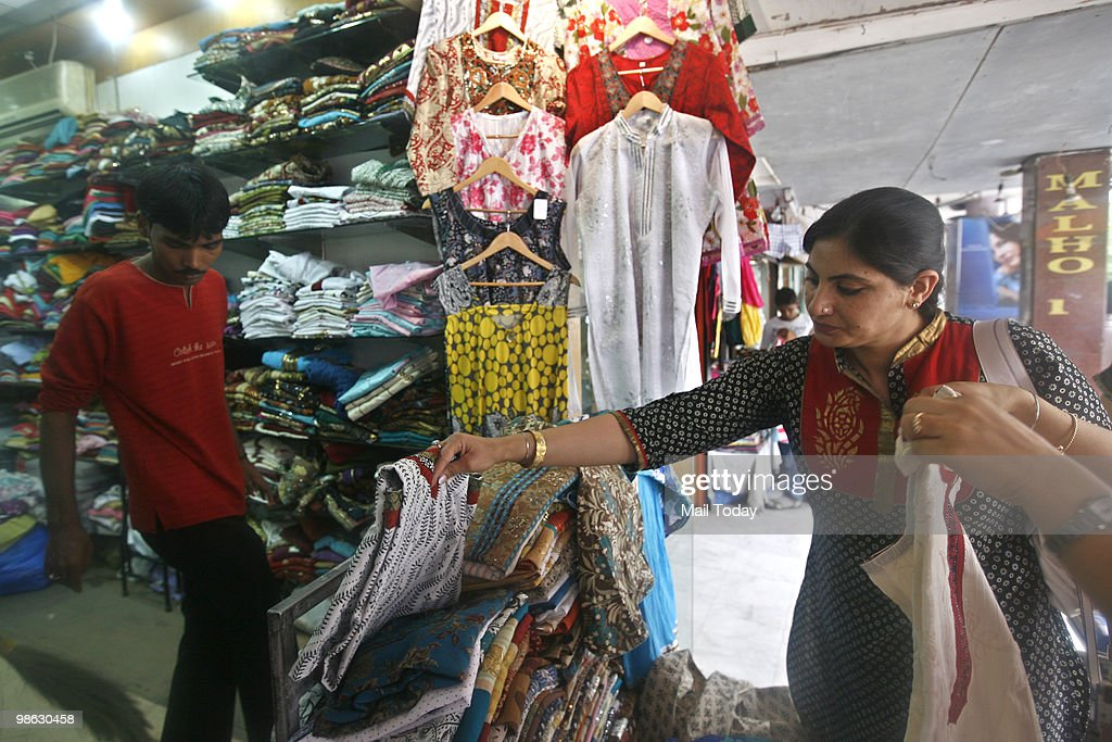 A view of the famous kurti shops at the GK-1 market in New Delhi on April 19, 2010.