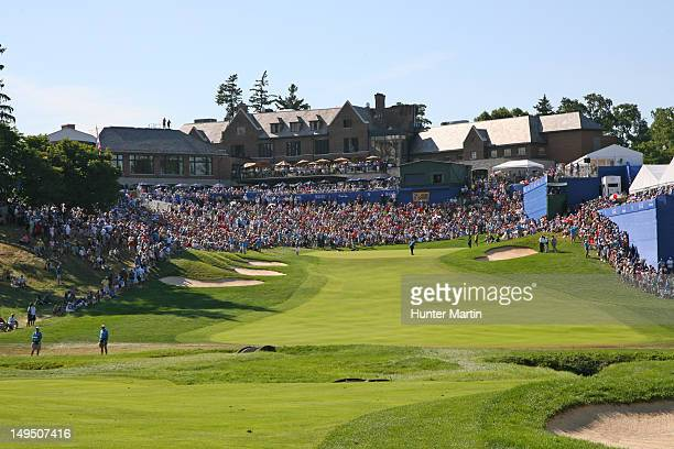 A view of the fans in front of the clubhouse surrounding the 18th green during the final round of the RBC Canadian Open at Hamilton Golf and Country...