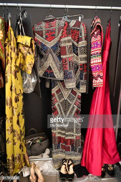 A view of the fashion backstage for Naeem Khan during New York Fashion Week The Shows at Gallery I at Spring Studios on February 13 2018 in New York...