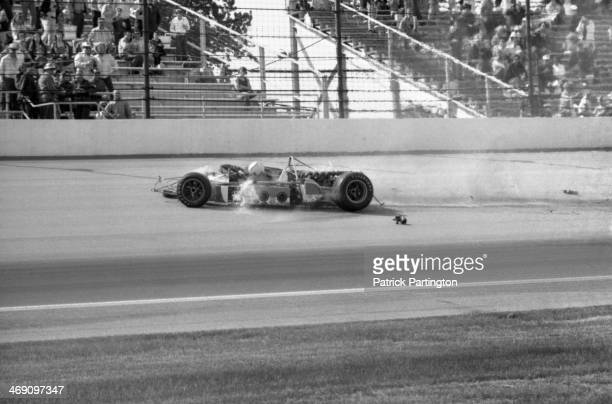 View of the fatal race car crash of American driver Art Pollard during a practice race for the Indianapolis 500, Indianapolis, Indiana, May 12, 1973.