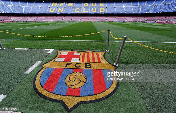 View of the FC Barcelona crest ahead of the UEFA Champions League Round of 16 second leg match between FC Barcelona and Arsenal FC at Camp Nou...