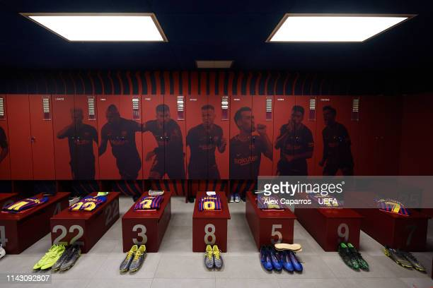 A view of the FC Barcelona dressing room ahead of the UEFA Champions League Quarter Final second leg match between FC Barcelona and Manchester United...