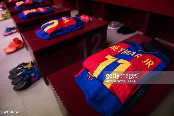 A view of the FC Barcelona dressing room ahead of the UEFA Champions League Round of 16 second leg match between FC Barcelona and Paris SaintGermain...